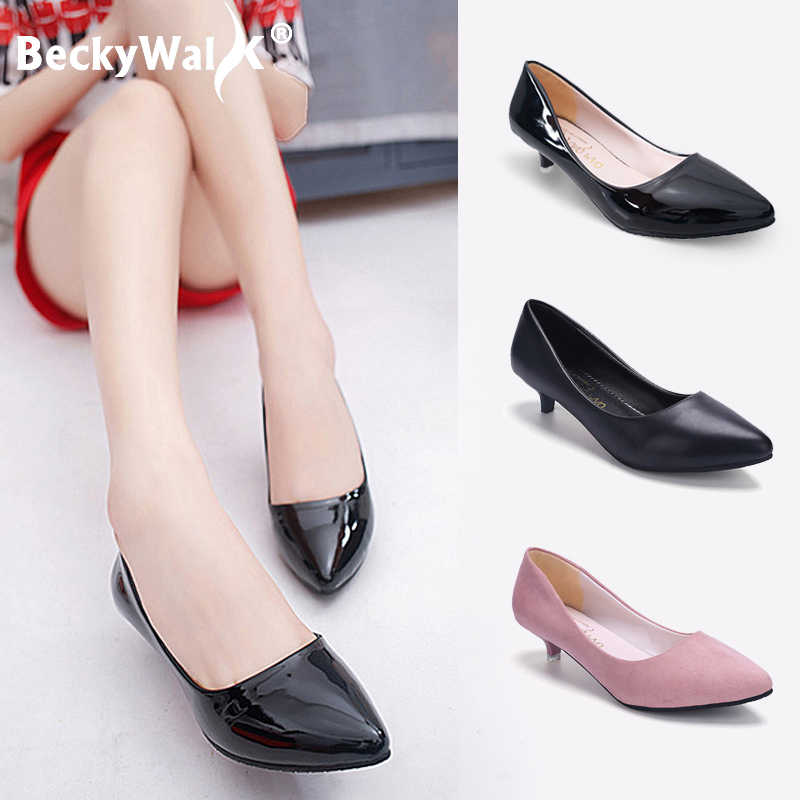Womens Pointed toe Mid Block Heel Patent Leather Slip on Work Shoes Casual Pumps