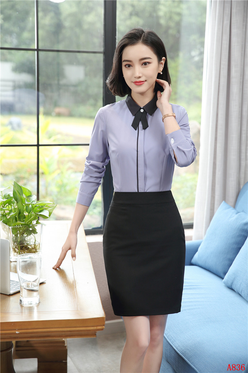 Formal 2 Piece Skirt Suits With Tops And Skirt Slim Fit Spring Fall Elegant Ladies Office Work Wear Blouses & Shirts Sets