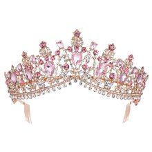 Тиара для невесты в стиле барокко, розовое золото, Хрустальная корона с расческой, бальное платье, Вуаль со стразами, тиара, повязка на голов...