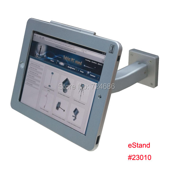 for ipad 2/3/4/air/pro 9.7 security wall mount foothold support with anti-theft lock enclosure mounting on table or desktop for ipad 2 3 4 air pro 9 7 table gooseneck lock mount display on restaurant security desktop holder mounting on shop