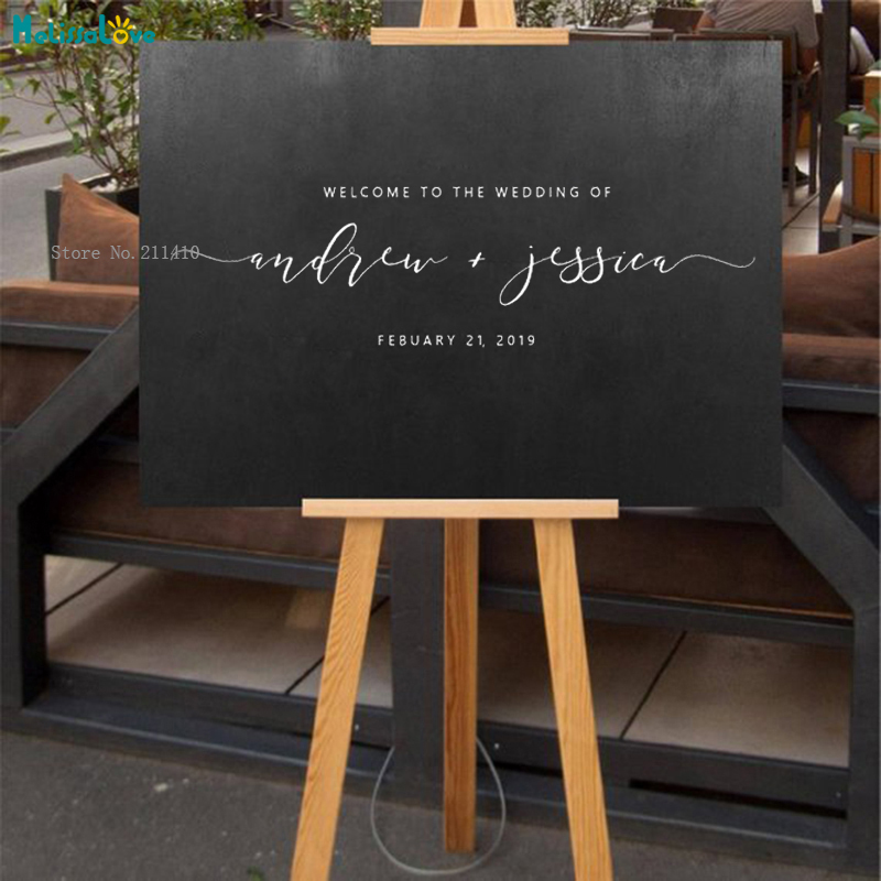 Custom Wedding Or Engagement Sign Decal Welcome Sticker Party Decor Vinyl Art Murals Custom Names Date Exquisite Signage YT1036
