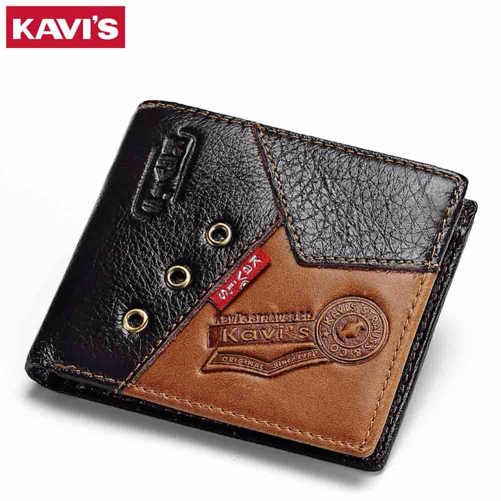 KAVIS Slim Genuine Leather Wallet Men Rock Male Cuzdan Portomonee Small Mini Vallet Walet Perse Card Holder Coin Purse Hip-Hop document for passport badge credit business card holder fashion men wallet male purse coin perse walet cuzdan vallet money bag