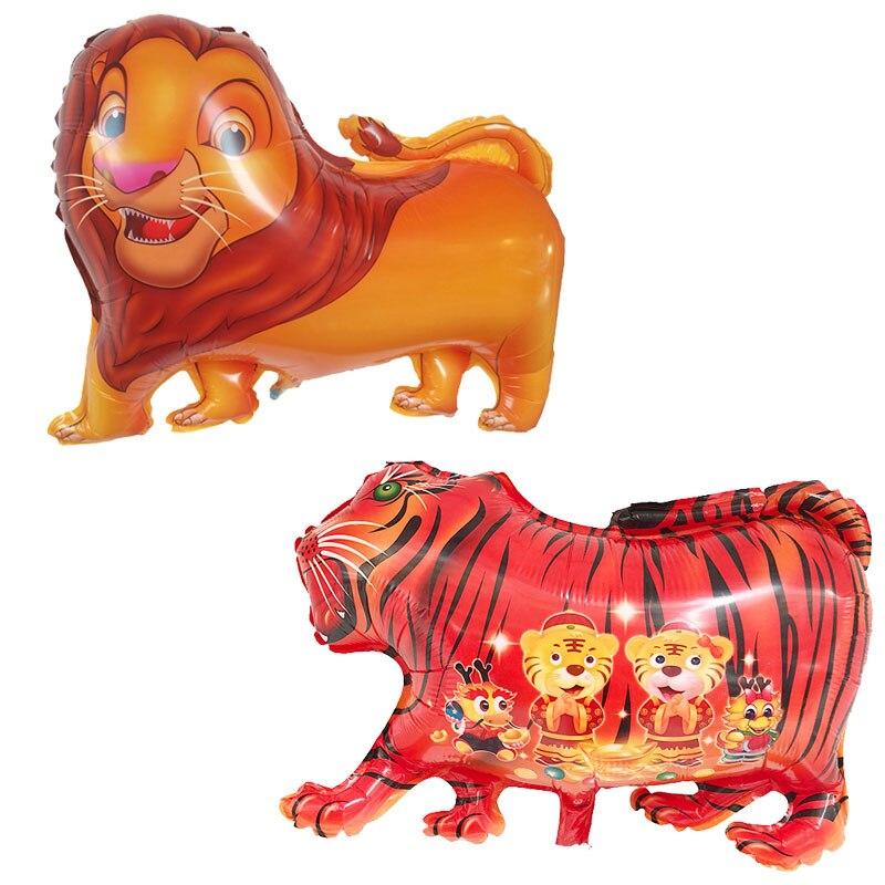 50 PC dessin animé tigre lion animal ballon aluminium feuille ballons décorations de fête d'anniversaire enfants jouet globos