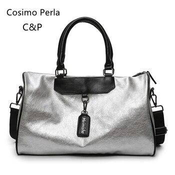 Leder Handgepäck | Europäischen Mode PU Leder Silber Reisetaschen Für Frauen 2019 Wasserdichte Sport Tasche Kurze Reise Tragen Auf Gepäck Wochenende Handtasche