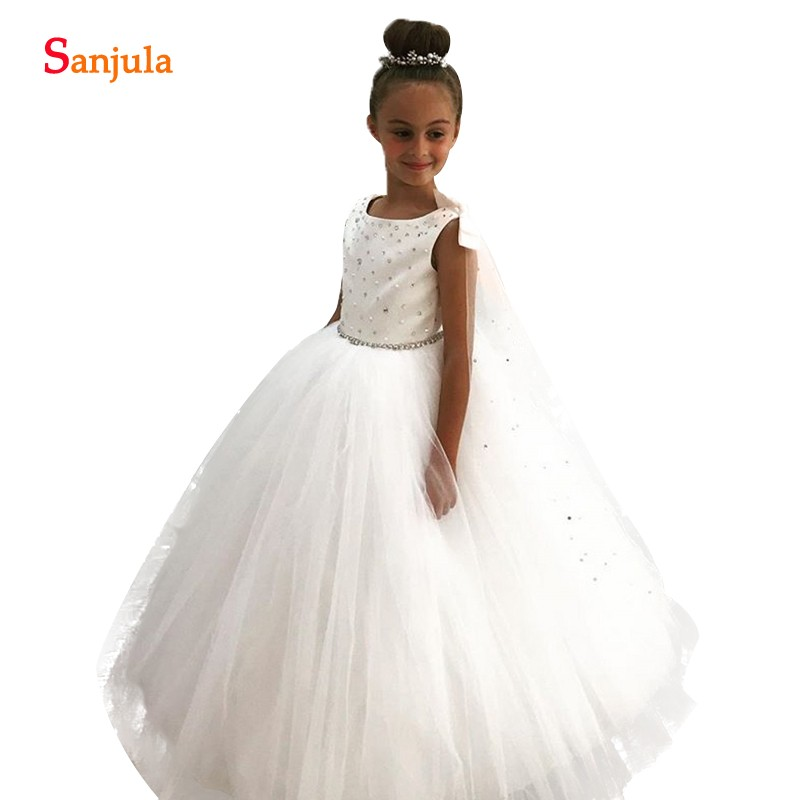 2018 New Rhinestones Beaded   Flower     Girl     Dresses   For Weddings Ivory Tulle Ball Gown Kids Party Gowns sukienka kwiaty SF003