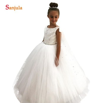 2020 New Rhinestones Beaded Flower Girl Dresses For Weddings Ivory Tulle Ball Gown Kids Party Gowns sukienka kwiaty SF003