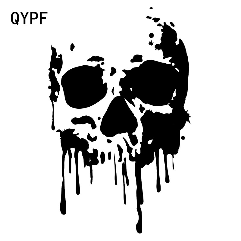 QYPF 11.6CM*18.2CM Interesting Skull Decoration Car Stickers Black/Silver Vinyl S9-2085