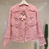 QoerliN Wool Blend Winter Jacket Coat Women 2018 Autumn New Vintage Woolen Tweed Fringed Elegant New Short Coat Girls Plus Size