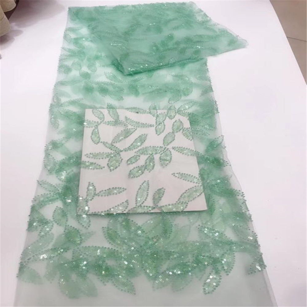 High Quality Leaves Embroidery French Tulle Lace African Green Dress Lace Glitter Sequins Fabric X602-1High Quality Leaves Embroidery French Tulle Lace African Green Dress Lace Glitter Sequins Fabric X602-1