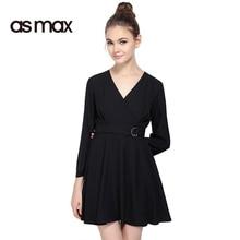 asmax 2017 New Fashion Dress Women Black Casual V Neck Wrap Mini Dress Vestidos Tie Waist