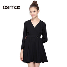 asmax 2017 New Fashion Dress Women Black Casual V Neck Wrap Mini Dress Vestidos Tie Waist Slim Female A-line Short Dresses