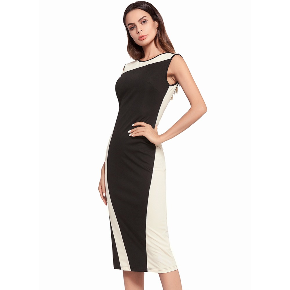 935c151761180 US $30.89 |Ruiyige 2018 Women Dress Sexy Going Out Elegant Patchwork  Sleeveless Office Party Bodycon Dresses For Lady -in Dresses from Women's  ...