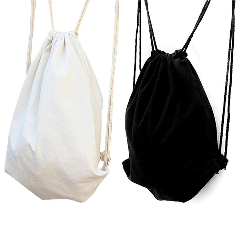 Unisex Drawstring Bags Canvas Cinch Sack Sackpack Bag For Gym Sport Travel Storage