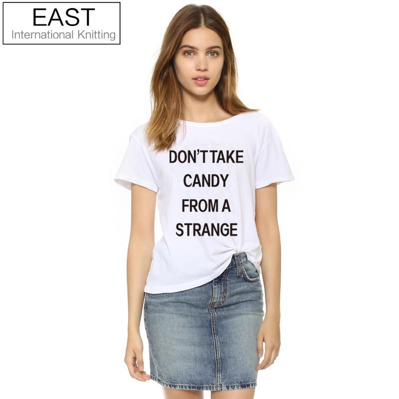 EAST KNITTING H648 2017 Новый Футболка Femme Летние Белые Женщины футболки не Взять Конфету Из Чужой Печати Панк Топы Плюс размер