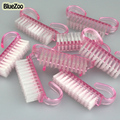 BlueZoo 10 unidades/pacote De Plástico Rosa Nail Art Pó Limpa Escova Manicure Pedicure Ferramenta Alça de Limpeza Escova de Esfregar