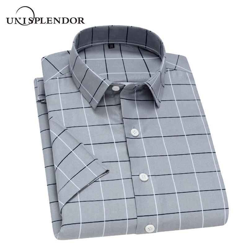 Unisplendor Summer Men Short Sleeve Shirts Plaid Striped Man Shirt Soft Breathable Male Casual Shirt Men Boy Short Tops YN10475