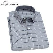 Unisplendor, летние мужские рубашки с коротким рукавом, клетчатая полосатая Мужская рубашка, мягкая дышащая мужская повседневная рубашка, мужские короткие топы для мальчиков, YN10475