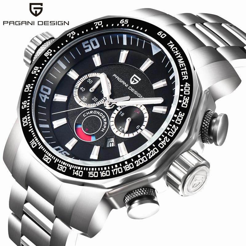 Pagani Design Military Watches Men Luxury Brand Full Stainless Steel Big Dial Sport Watches Relogio Masculino Clock Men lige horloge 2017
