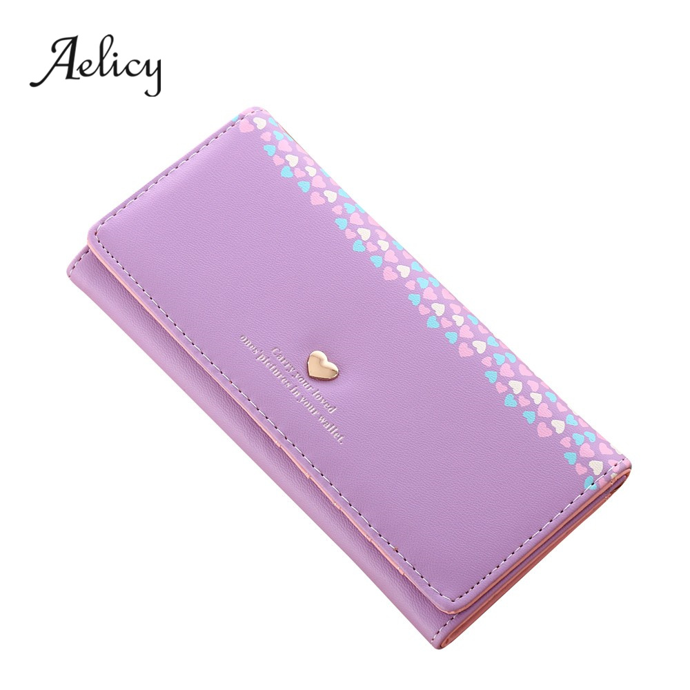 Aelicy High Quality Women Love Heart Pattern Coin Purse Long Wallet Card Holders Handbag PU Leather Crossbody Tote Bag 3
