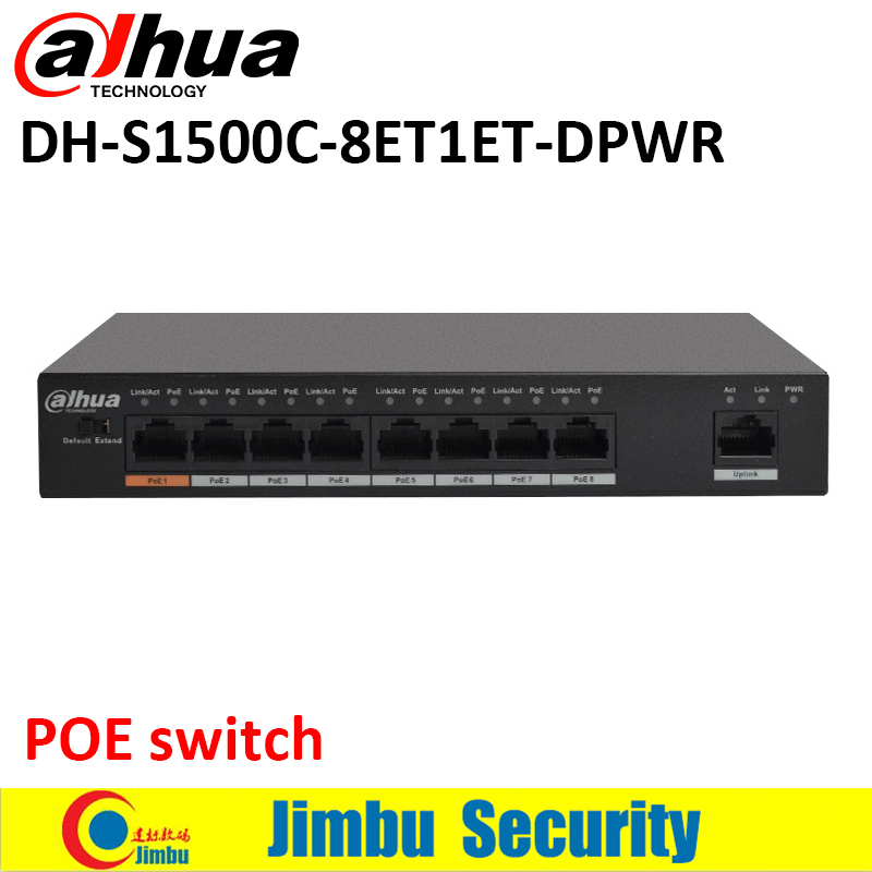 Dahua 8 ports POE switch S1500C 8ET1ET DPWR IEEE802.3af IEEE802.3at Hi PoE 1*10/100Mbps 8*10/100 Mbps DH S1500C 8ET1ET DPWR-in Transmission & Cables from Security & Protection