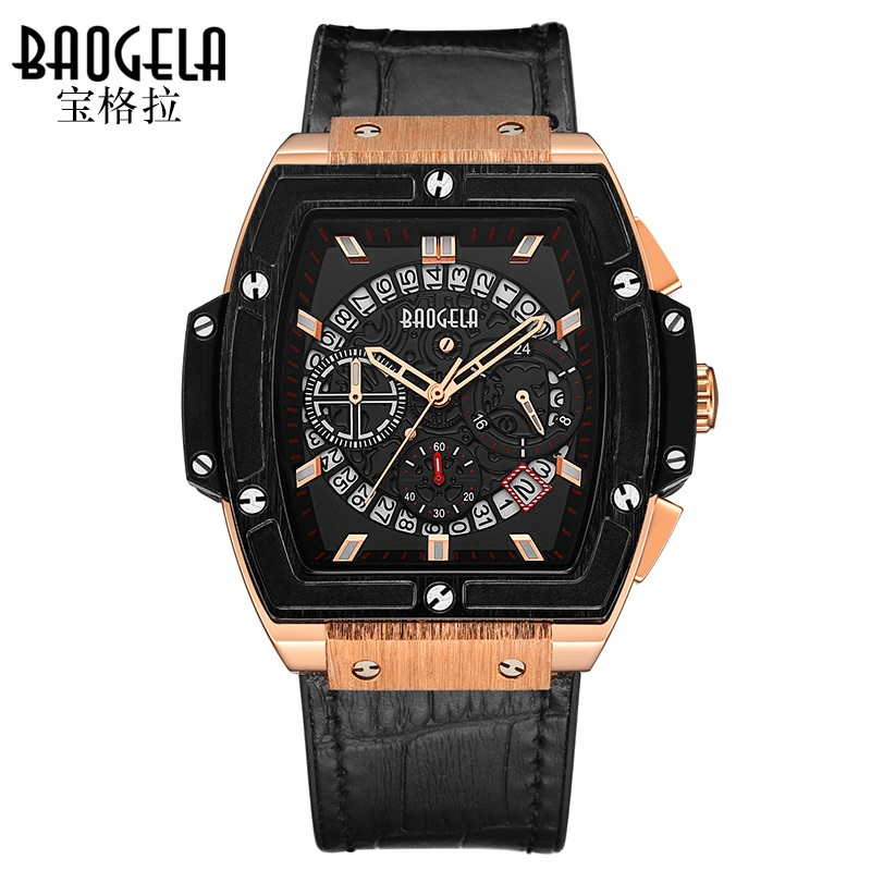 Baogela Chronograph Mens Sport Watch Quartz Wrist Watches Leather Luxury Brand Date Indicator Waterproof Wristwatches 1703 pattous mens sports watch black genuine leather chronograph dial date sport quartz watches miyota quartz wrist watch gift box