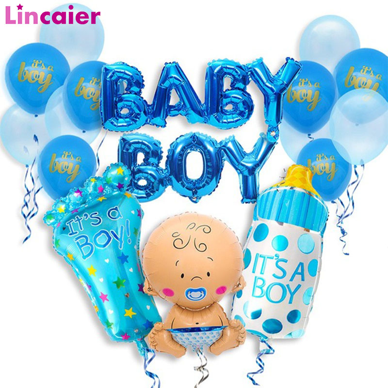 17pcs Baby Shower Balloons Photo Booth Props Babyshower Boy Girl Party Decorations  Its A Girl Boy Gender Reveal Favors Supplies