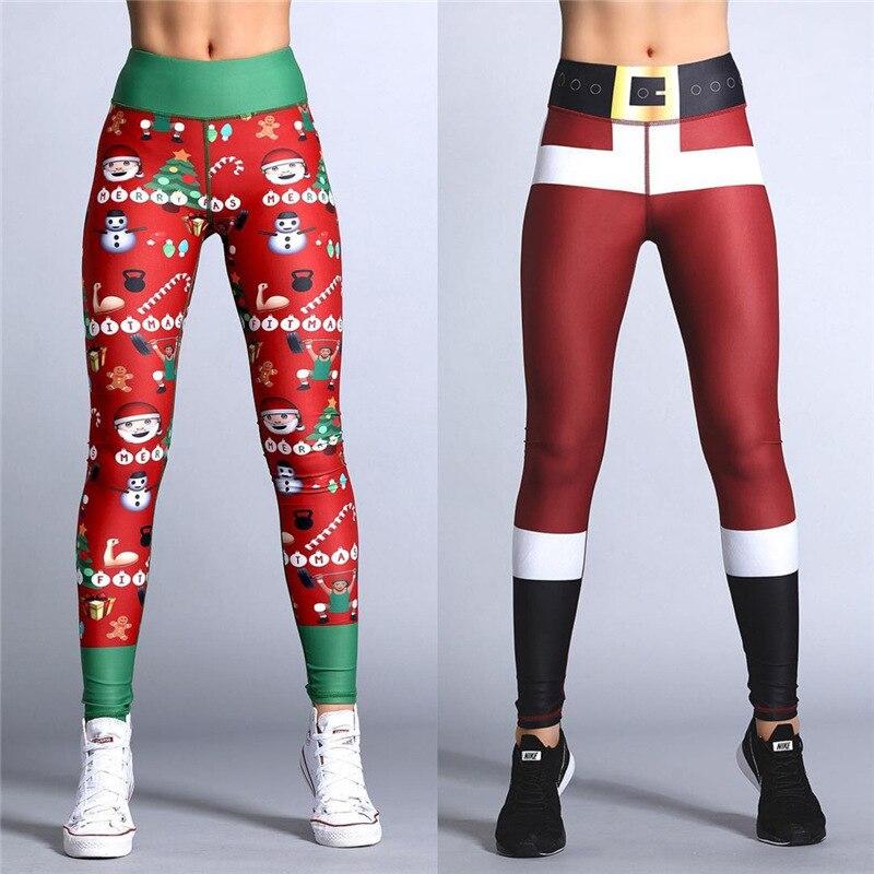 2018 Hayoha de Navidad de impresión polainas poner cadera elástico cintura alta Legging transpirable Feliz Navidad Pantalones