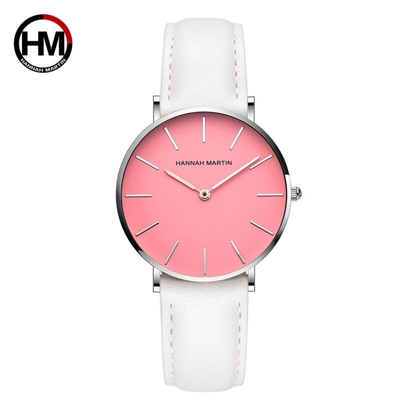 Hannah Martin Hot Sales Casual White Band Watch Women Sport Quartz Wristwatch Relogio Feminino