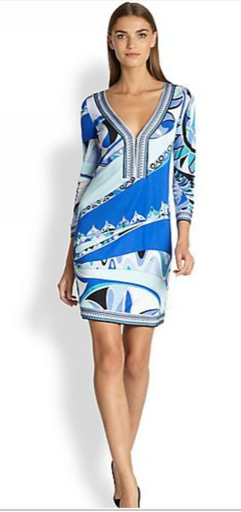Fashion fresh V neck blue three quarter sleeve elastic dress knitted elastic print one piece dress