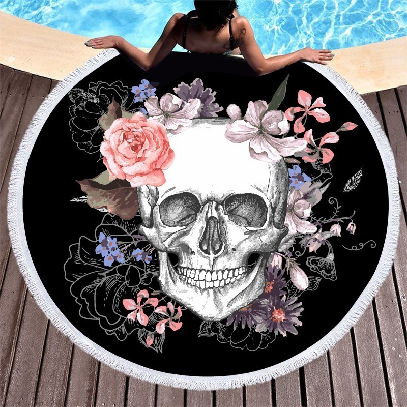 Image 3 - Boho Beach Towels Printed Sugar Skull Flower Round Microfiber Beach Towel For Adults Summer Large Bath Towel Picnic Yoga Blanket-in Bath Towels from Home & Garden