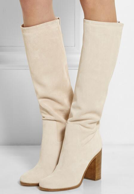Бежевый цвет толстые высокие каблуки скольжения на колено высокие сапоги для женщин осень зима замши мотоцикла сапоги круглый носок длинные сапоги