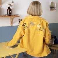 Embroidered Denim Boyfriend Jacket female autumn Korean versione new loose and long sleeve shirt Harajuku BF