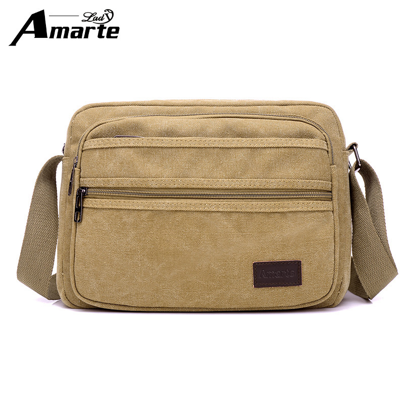 Amarte new casual style mens canvas shoulder bags with strap office bag men with cell phone pocket mens bag