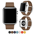 Moderna hebilla suave correa de piel genuina para apple watch band 38mm 42mm pulsera de la muñeca para apple iwatch con magnética cierre