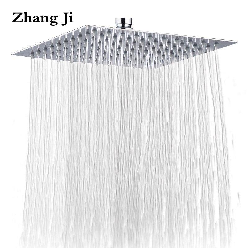 ZhangJi 10 ''Cachoeira Cabeça de Chuveiro Do Banheiro do Aço Inoxidável Acessórios 25 cm Fixado Na Parede Do Chuveiro Cabeça Grande Chuveiro de Chuva de Luxo
