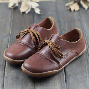 IMTER Shoes Woman Pls Size Genuine Leather Flat Shoes Women Round toe Lace up Ladies Flat Shoes Female Barefoot Shoe(H328) leather