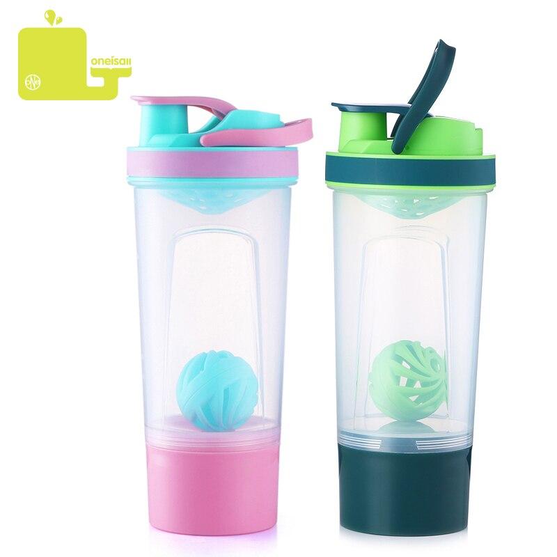 Coctelera de plástico botellas de agua portátiles mezclador de proteínas gimnasio al aire libre deportes entrenamiento bebida en polvo leche 720 ml