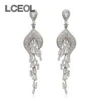 LCEOL Korean Luxury Style 5A CZ Diamante Drop Earrings for Women Shiny Zircon Pave Setting White Gold Color Charm Tassel Earring