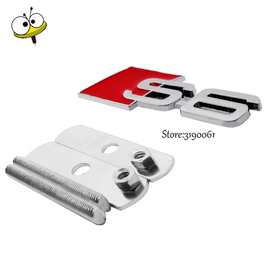 Car Accessories Decor Car Styling Auto Front Grille Emblem Car Sticker Badge Decal for S6 Logo for Audi Emblem Audi S6 Sline s line sline front grille emblem badge chromed plastic abs front grille mount for audi a1 a3 a4 a4l a5 a6l s3 s6 q5 q7 label