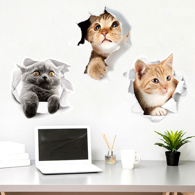 Hot 3D Cute Kitten Closestool Sticker Kids Bedroom Wall Deocration Cat Cartoon Fridge Sticker