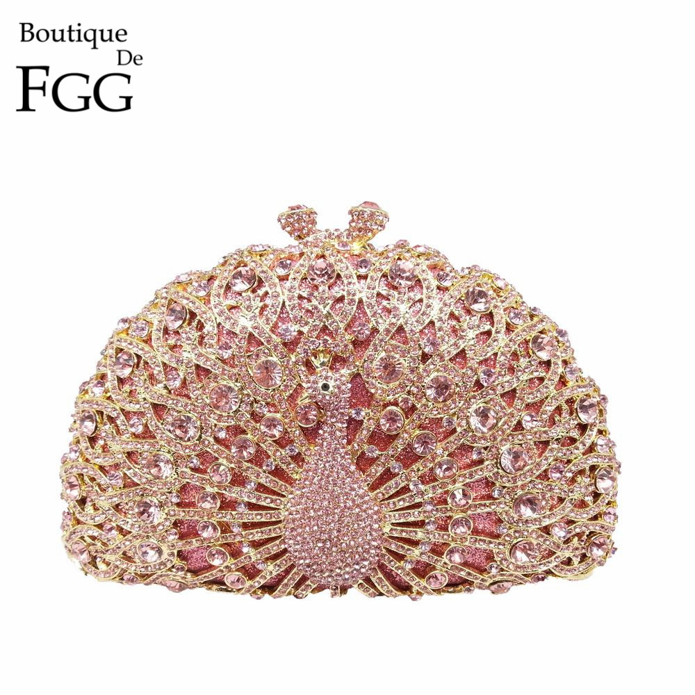 4e6924de5f Dazzling Pink Crystal Women Peacock Clutches Handbag Metal Evening ...