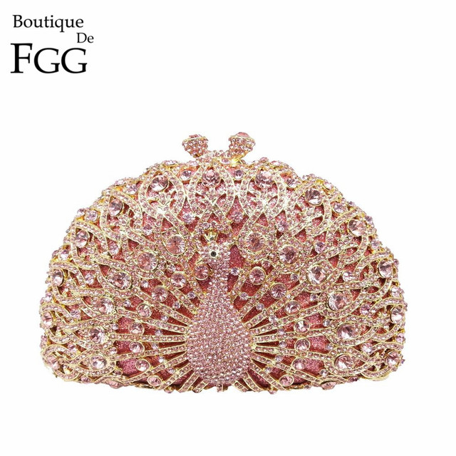 Dazzling Pink Crystal Women Peacock Clutches Handbag Metal Evening Bags  Minaudiere Ladies Party Purse Wedding Clutch e1fbc865022e
