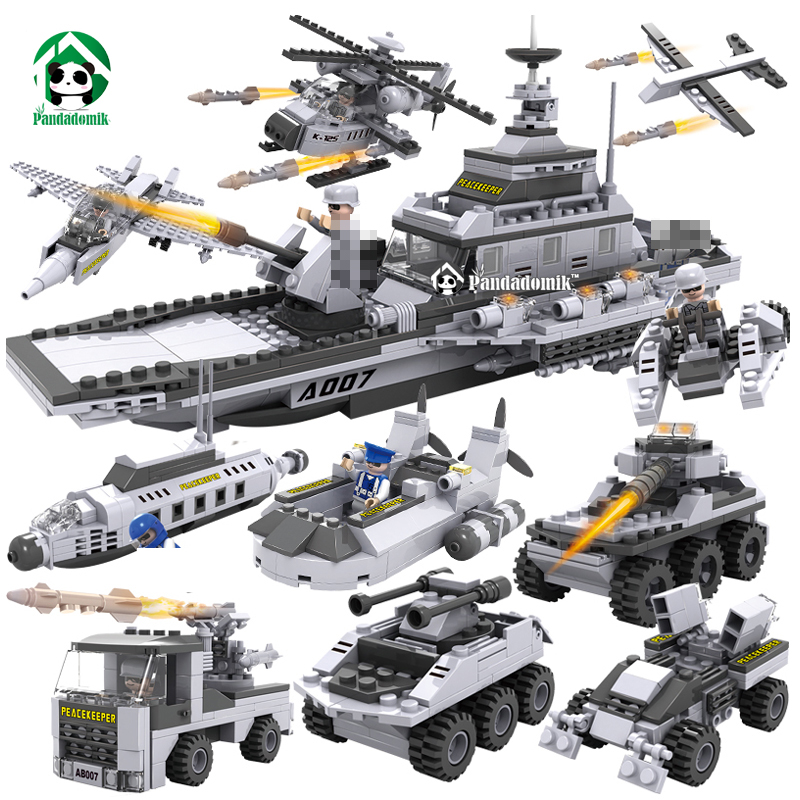 Large Military 8 in1 747pcs 8 Figures Building Blocks Tank Warship Army War Toys for Children Constructor Set Compatible lepin 8 in 1 large military figures warship fighter helicopter tank ship building blocks set children educational toys for boys