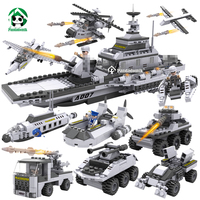 Large Military 8in1 Building Bricks Set 747pcs 8 Figures Toy Blocks Tank Army War Toys for Boys toy Constructor Children
