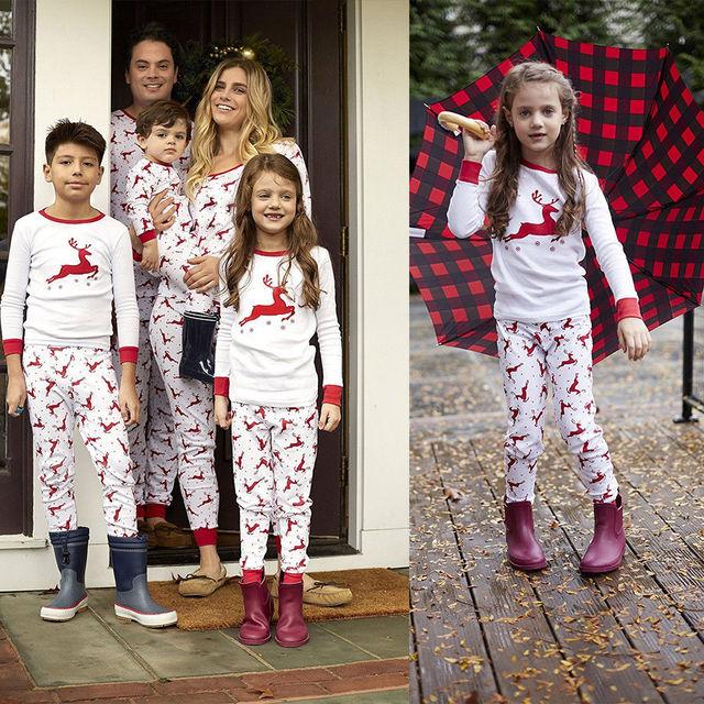 447b5b28de 2018 Brand New Family Matching Christmas Pajamas Sleepwear Set Xmas Elk  Women Men Adults Baby Kids Sleepwear