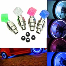 Hot new for 2pcs Dice LED Light Bicycle Bike Car Motor Wheel Valve Stem Cap tire Neon Bulb