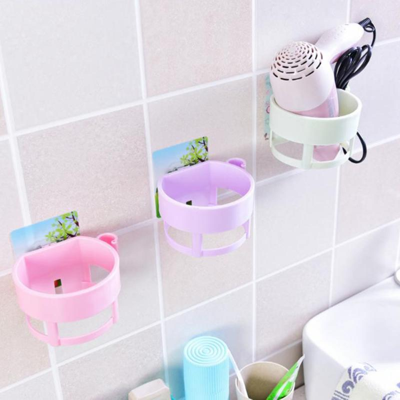 Plastic Wall Hanging Blow Dryer Stand Seamless Bathroom Storage Rack Hairdryer Orgnizing Holder Bathroom Organizer 4 Color