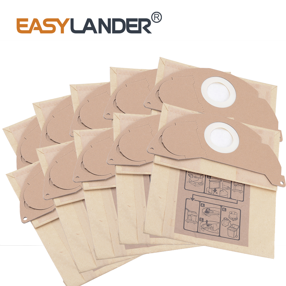 10pcs/Lot vacuum cleaner bag dust bag cleaner bags Replacement For KARCHER WD2250 A2004 A2054 MV2 vacuum cleaner bag washable dust bag for karcher nt351 nt361 nt65 2 nt75 2 nt80 1 vacuum cleaner parts karcher bags replacement