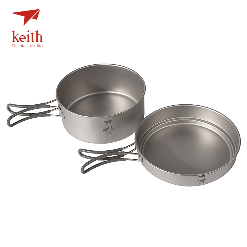 Keith Titanium Cookware Foldable Cookware Outdoor Camping Bowls Camping Pot Sets Cooking Pot 1.25L+ Frying Pan 800ml Ti6017Keith Titanium Cookware Foldable Cookware Outdoor Camping Bowls Camping Pot Sets Cooking Pot 1.25L+ Frying Pan 800ml Ti6017