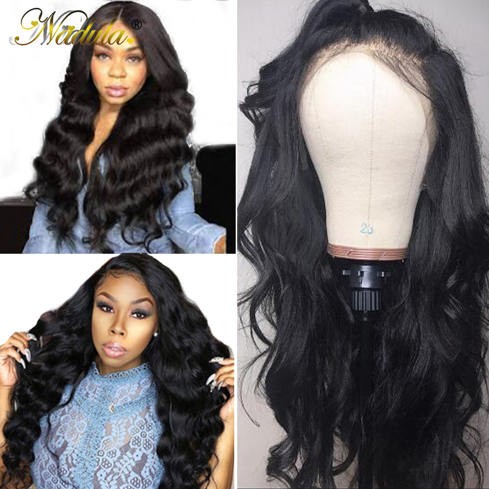 Nadula Body Wave Wig Pre Plucked Full Lace Human Hair Wigs Natural Black Glueless Full Lace Wigs For Women Remy Hair Lace Wig(China)
